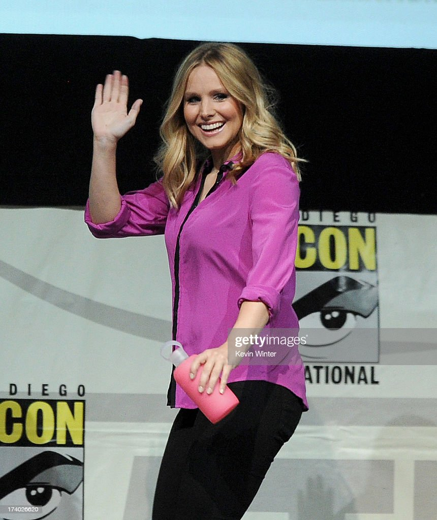 Actress <a gi-track='captionPersonalityLinkClicked' href=/galleries/search?phrase=Kristen+Bell&family=editorial&specificpeople=194764 ng-click='$event.stopPropagation()'>Kristen Bell</a> speaks onstage at the 'Veronica Mars' special video presentation and Q&A during Comic-Con International 2013 at San Diego Convention Center on July 19, 2013 in San Diego, California.