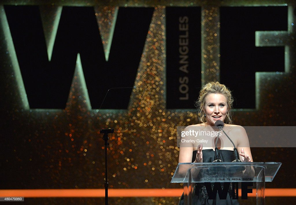 Actress <a gi-track='captionPersonalityLinkClicked' href=/galleries/search?phrase=Kristen+Bell&family=editorial&specificpeople=194764 ng-click='$event.stopPropagation()'>Kristen Bell</a> speaks onstage at Women In Film 2014 Crystal + Lucy Awards presented by MaxMara, BMW, Perrier-Jouet and South Coast Plaza held at the Hyatt Regency Century Plaza on June 11, 2014 in Los Angeles, California.