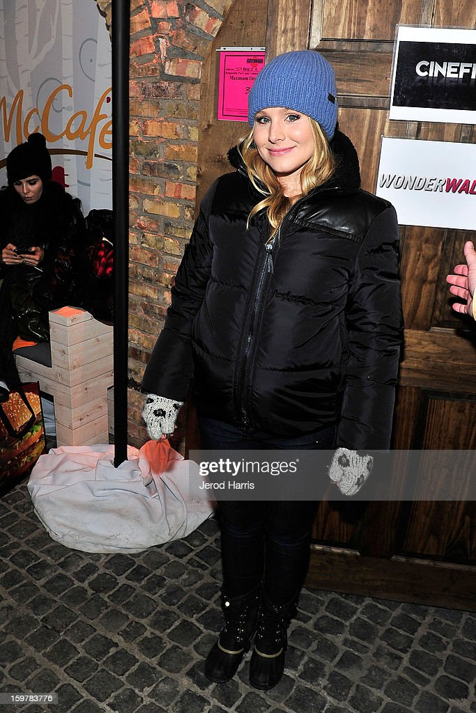 Actress <a gi-track='captionPersonalityLinkClicked' href=/galleries/search?phrase=Kristen+Bell&family=editorial&specificpeople=194764 ng-click='$event.stopPropagation()'>Kristen Bell</a> warms up at the McDonald's McCafe Lodge at Sundance on January 20, 2013 in Park City, Utah.