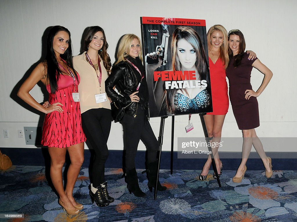 Actress Kristen DeLuca; Tiffany Brouwer; <a gi-track='captionPersonalityLinkClicked' href=/galleries/search?phrase=Nikki+Griffin&family=editorial&specificpeople=736850 ng-click='$event.stopPropagation()'>Nikki Griffin</a>; Madison Dylan and Catherine Annette promote Cinemax's 'Femme Fatales' at WonderCon Anaheim 2013 - Day 1 at Anaheim Convention Center on March 29, 2013 in Anaheim, California.