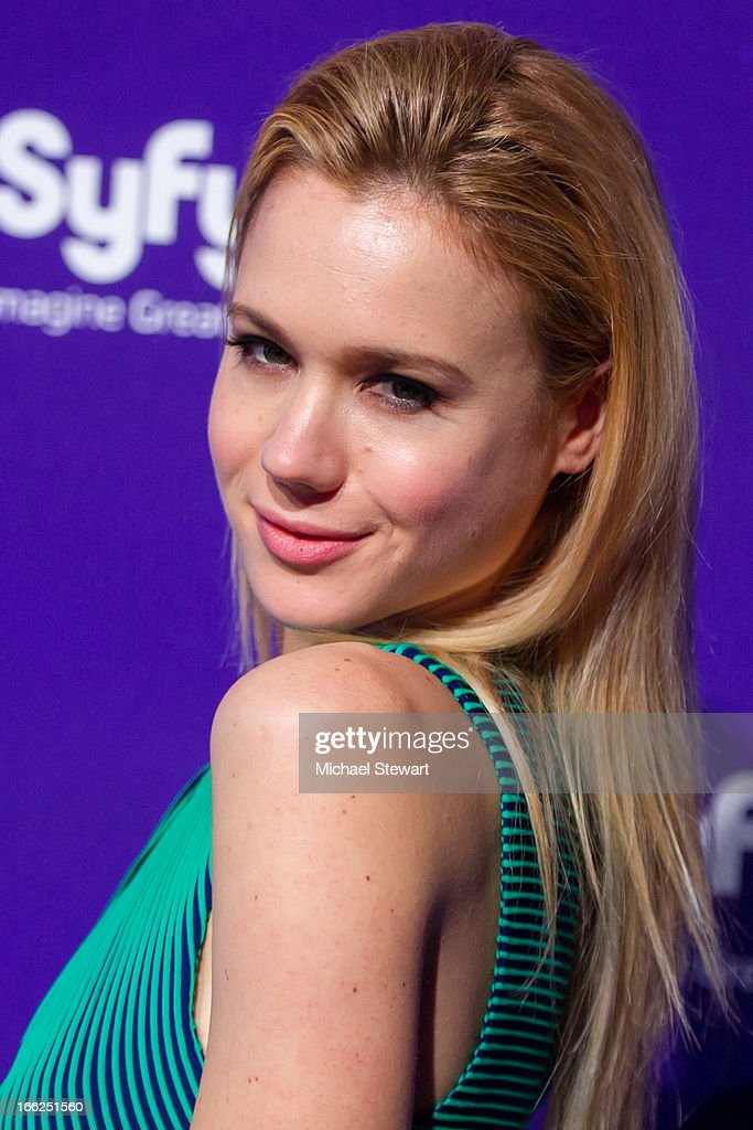 Actress Kristen Hager attends the 2013 Syfy Upfront at Silver Screen Studios at Chelsea Piers on April 10, 2013 in New York City.