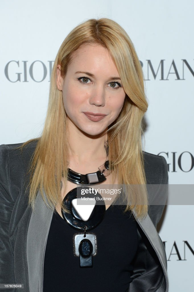 Actress Kristen Hager, wearing Emporio Armani attends the Giorgio Armani Beauty Luncheon on December 6, 2012 in Beverly Hills, California.