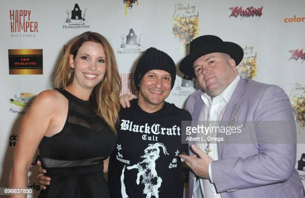 Actress Kristen Maddox director Neil D'Monte and recording artist Kory 'McShawdow' Neely arrive for the Premiere Of 'Front Men' And 'Like Them' held...