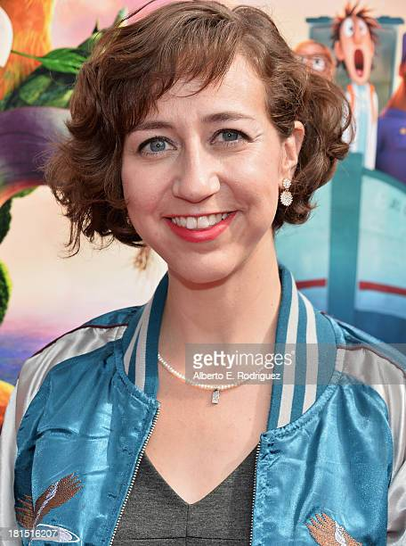 Actress Kristen Schaal arrives to the premiere of Columbia Pictures and Sony Pictures Animation's 'Cloudy With A Chance of Meatballs 2' at the...
