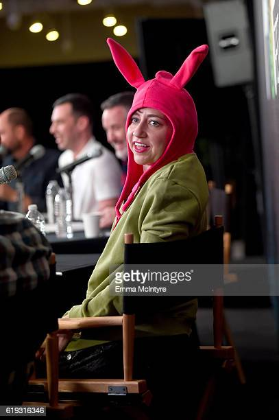 Actress Kristen Schaal speaks onstage during the 'Bob's Burgers Live' panel at Entertainment Weekly's PopFest at The Reef on October 30 2016 in Los...