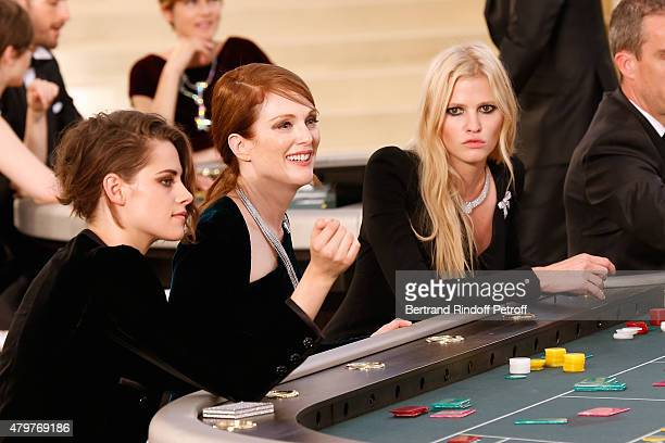 Actress Kristen Stewart Actress Julianne Moore and Model Lara Stone attend the Chanel show as part of Paris Fashion Week Haute Couture Fall/Winter...