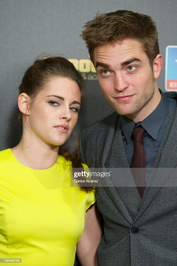 Actress <a gi-track='captionPersonalityLinkClicked' href=/galleries/search?phrase=Kristen+Stewart&family=editorial&specificpeople=2166264 ng-click='$event.stopPropagation()'>Kristen Stewart</a> and actor <a gi-track='captionPersonalityLinkClicked' href=/galleries/search?phrase=Robert+Pattinson&family=editorial&specificpeople=734445 ng-click='$event.stopPropagation()'>Robert Pattinson</a> attend the 'The Twilight Saga: Breaking Dawn - Part 2' (La Saga Crepusculo: Amanecer Parte 2) premiere at the Kinepolis cinema on November 15, 2012 in Madrid, Spain.