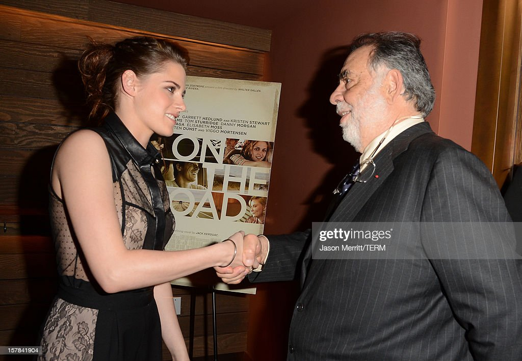 Actress <a gi-track='captionPersonalityLinkClicked' href=/galleries/search?phrase=Kristen+Stewart&family=editorial&specificpeople=2166264 ng-click='$event.stopPropagation()'>Kristen Stewart</a> and Director <a gi-track='captionPersonalityLinkClicked' href=/galleries/search?phrase=Francis+Ford+Coppola&family=editorial&specificpeople=204241 ng-click='$event.stopPropagation()'>Francis Ford Coppola</a> attend the private Los Angeles screening of 'On The Road' at Sundance Cinema on December 6, 2012 in Los Angeles, California.