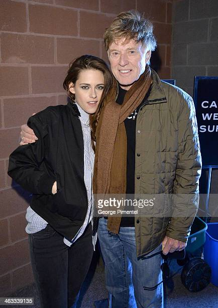 Actress Kristen Stewart and Sundance Institute President and Founder Robert Redford attend the 'Camp XRay' premiere at Eccles Center Theatre during...