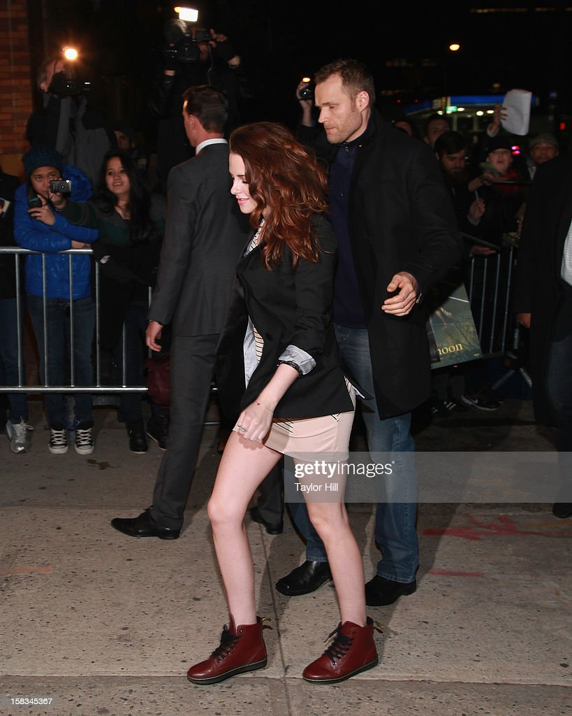 Actress Kristen Stewart arrives at 'The Daily Show' at The Daily Show Studio on December 13, 2012 in New York City.
