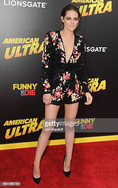 Actress Kristen Stewart arrives at the Los Angeles Premiere 'American Ultra' at Ace Theater Downtown LA on August 18 2015 in Los Angeles California