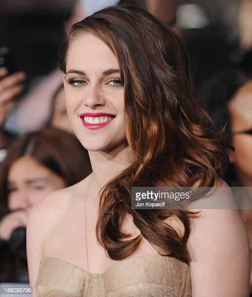 Actress Kristen Stewart arrives at the Los Angeles Premiere 'The Twilight Saga Breaking Dawn Part 2' at Nokia Theatre LA Live on November 12 2012 in...