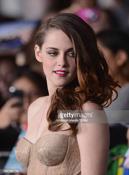 Actress Kristen Stewart arrives at the premiere of Summit Entertainment's 'The Twilight Saga Breaking Dawn Part 2' at Nokia Theatre LA Live on...