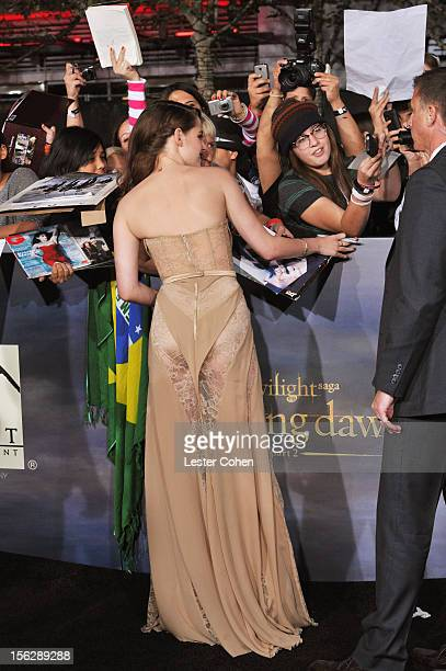 Actress Kristen Stewart arrives at 'The Twilight Saga Breaking Dawn Part 2' Los Angeles premiere at the Nokia Theatre LA Live on November 12 2012 in...