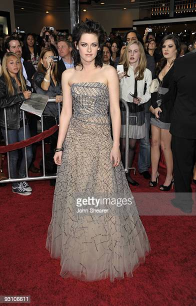 Actress Kristen Stewart arrives at 'The Twilight Saga New Moon' premiere held at the Mann Village Theatre on November 16 2009 in Westwood California