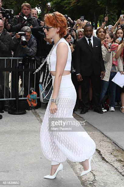 Actress Kristen Stewart arrives to attend the Chanel show as part of Paris Fashion Week Haute Couture Fall/Winter 20142015 at Grand Palais on July 8...