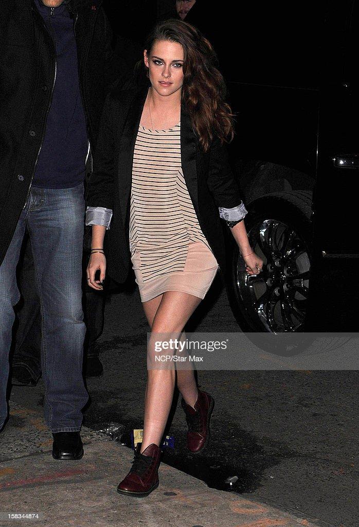 Actress Kristen Stewart as seen on December 13, 2012 in New York City.