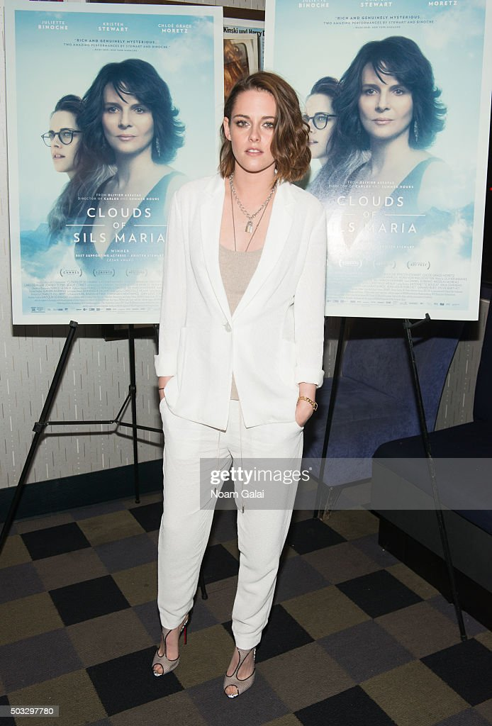 Actress <a gi-track='captionPersonalityLinkClicked' href=/galleries/search?phrase=Kristen+Stewart&family=editorial&specificpeople=2166264 ng-click='$event.stopPropagation()'>Kristen Stewart</a> attends a screening of 'Clouds Of Sils Maria' at IFC Center on January 3, 2016 in New York City.
