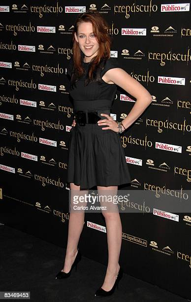 Actress Kristen Stewart attends 'Crepusculo' premiere at the Callao cinema on October 28 2008 in Madrid Spain