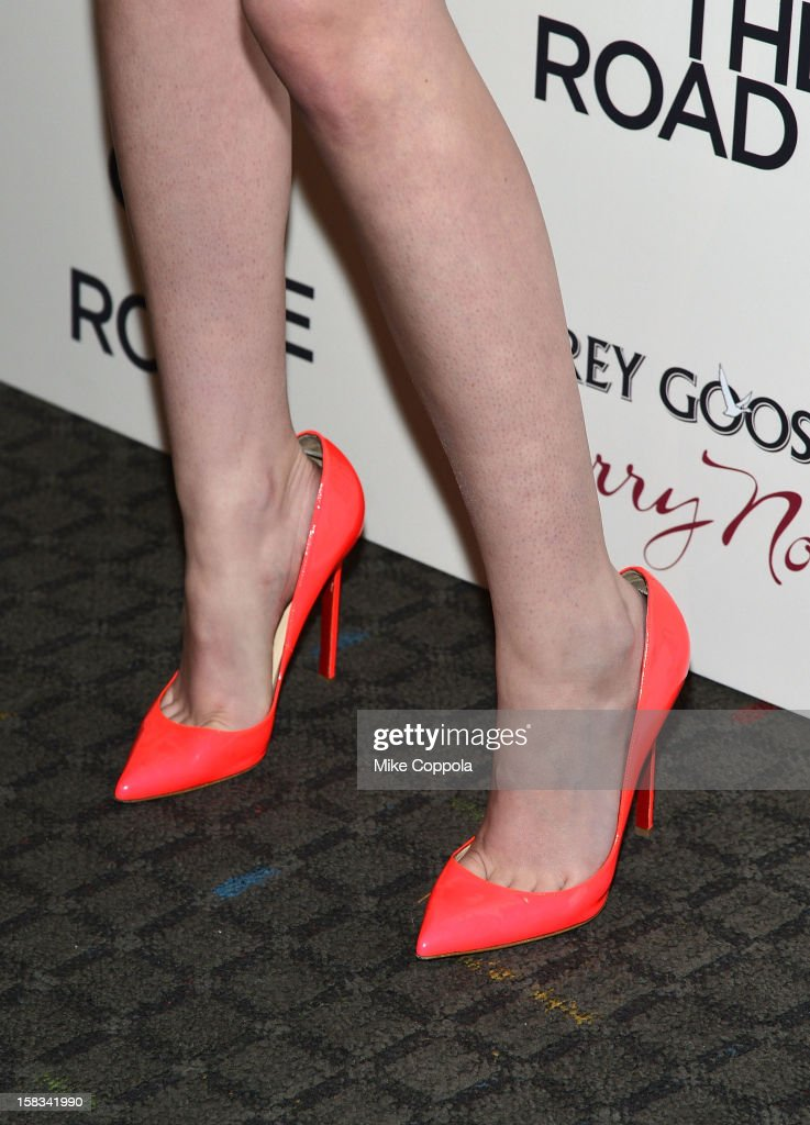 Actress Kristen Stewart (shoe detail) attends 'On The Road' New York Premiere at SVA Theater on December 13, 2012 in New York City.