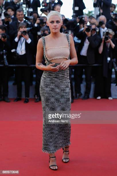Actress Kristen Stewart attends the '120 Beats Per Minute ' screening during the 70th annual Cannes Film Festival at Palais des Festivals on May 20...