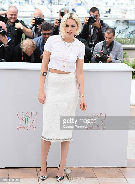Actress Kristen Stewart attends the 'Cafe Society' photocall during the 69th annual Cannes Film Festival at Palais des Festivals on May 11 2016 in...