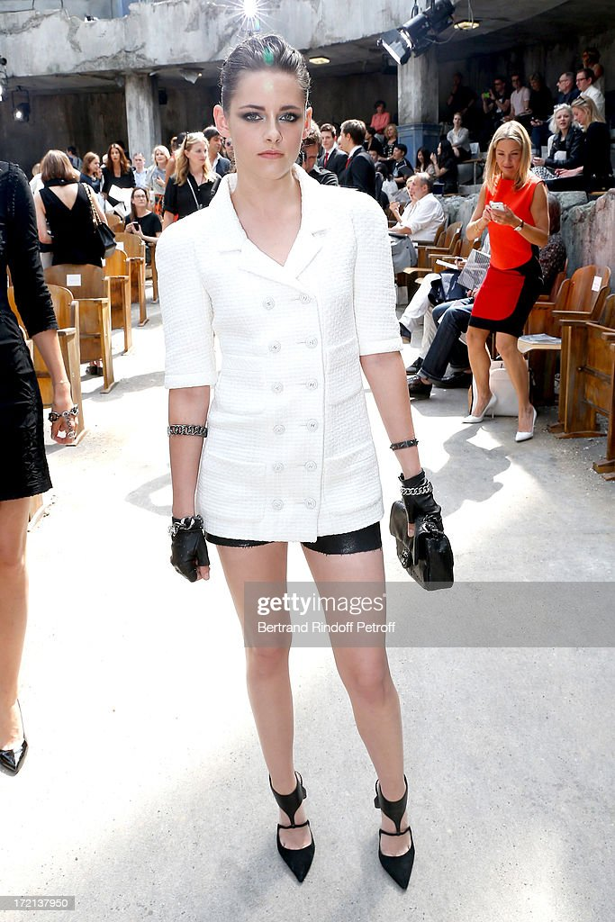 Actress <a gi-track='captionPersonalityLinkClicked' href=/galleries/search?phrase=Kristen+Stewart&family=editorial&specificpeople=2166264 ng-click='$event.stopPropagation()'>Kristen Stewart</a> attends the Chanel show as part of Paris Fashion Week Haute-Couture Fall/Winter 2013-2014 at Grand Palais on July 2, 2013 in Paris, France.