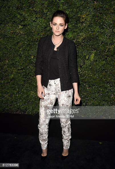 Actress Kristen Stewart attends the Charles Finch and Chanel PreOscar Awards Dinner at Madeo Restaurant on February 27 2016 in Los Angeles California