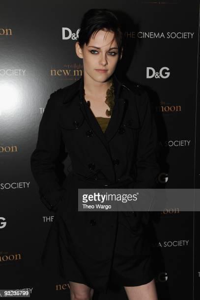 Actress Kristen Stewart attends the Cinema Society DG screening of 'The Twilight Saga New Moon' at Landmark's Sunshine Cinema on November 19 2009 in...