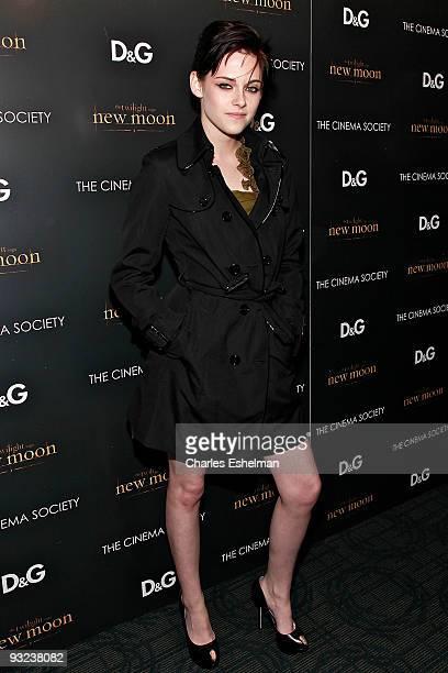 Actress Kristen Stewart attends the Cinema Society screening of 'The Twilight Saga New Moon' at Landmark's Sunshine Cinema on November 19 2009 in New...