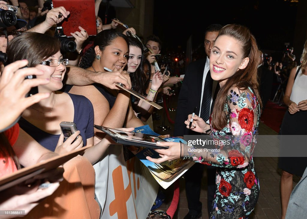 Actress <a gi-track='captionPersonalityLinkClicked' href=/galleries/search?phrase=Kristen+Stewart&family=editorial&specificpeople=2166264 ng-click='$event.stopPropagation()'>Kristen Stewart</a> attends the 'On The Road' premiere during the 2012 Toronto International Film Festival on September 6, 2012 in Toronto, Canada.