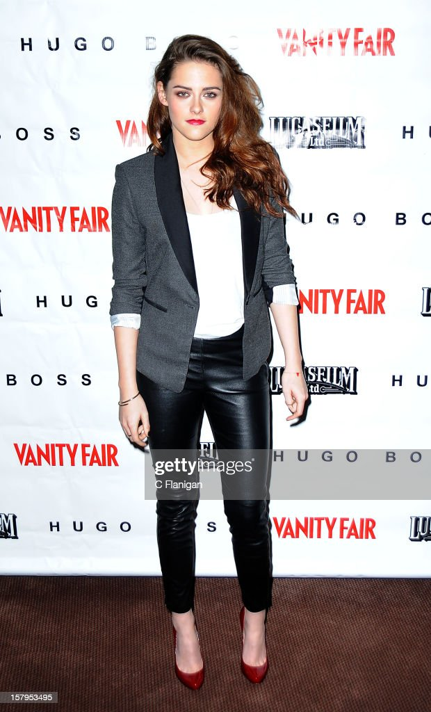 Actress <a gi-track='captionPersonalityLinkClicked' href=/galleries/search?phrase=Kristen+Stewart&family=editorial&specificpeople=2166264 ng-click='$event.stopPropagation()'>Kristen Stewart</a> attends the 'On the Road' Vanity Fair Screening presented by Hugo Boss at Skywalker Ranch on December 7, 2012 in San Francisco, California.