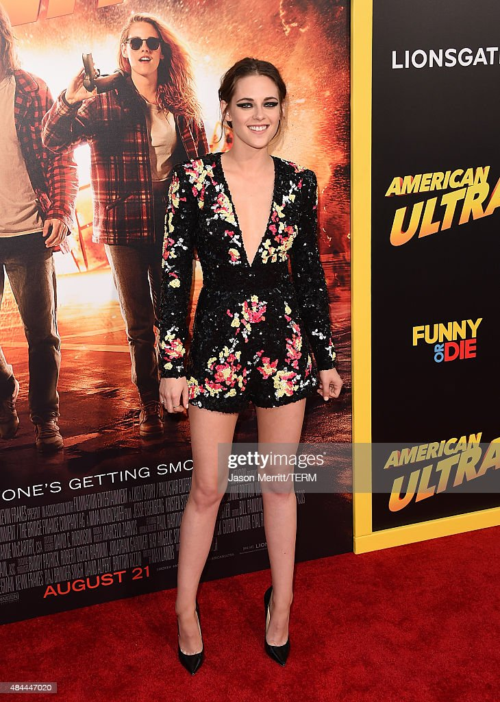 Actress <a gi-track='captionPersonalityLinkClicked' href=/galleries/search?phrase=Kristen+Stewart&family=editorial&specificpeople=2166264 ng-click='$event.stopPropagation()'>Kristen Stewart</a> attends the premiere of Lionsgate's 'American Ultra' at Ace Theater Downtown LA on August 18, 2015 in Los Angeles, California.