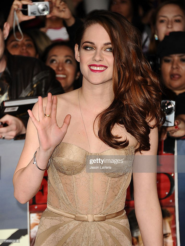 Actress <a gi-track='captionPersonalityLinkClicked' href=/galleries/search?phrase=Kristen+Stewart&family=editorial&specificpeople=2166264 ng-click='$event.stopPropagation()'>Kristen Stewart</a> attends the premiere of 'The Twilight Saga: Breaking Dawn - Part 2' at Nokia Theatre L.A. Live on November 12, 2012 in Los Angeles, California.