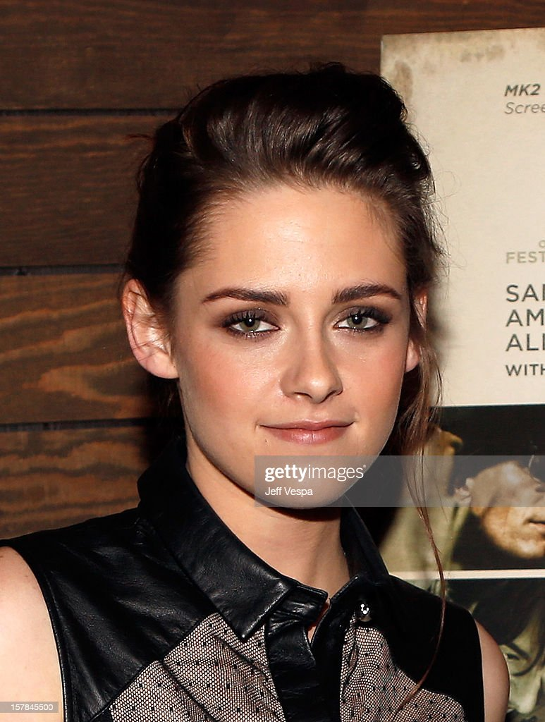 Actress <a gi-track='captionPersonalityLinkClicked' href=/galleries/search?phrase=Kristen+Stewart&family=editorial&specificpeople=2166264 ng-click='$event.stopPropagation()'>Kristen Stewart</a> attends the private Los Angeles screening of 'On The Road' at Sundance Cinema on December 6, 2012 in Los Angeles, California.