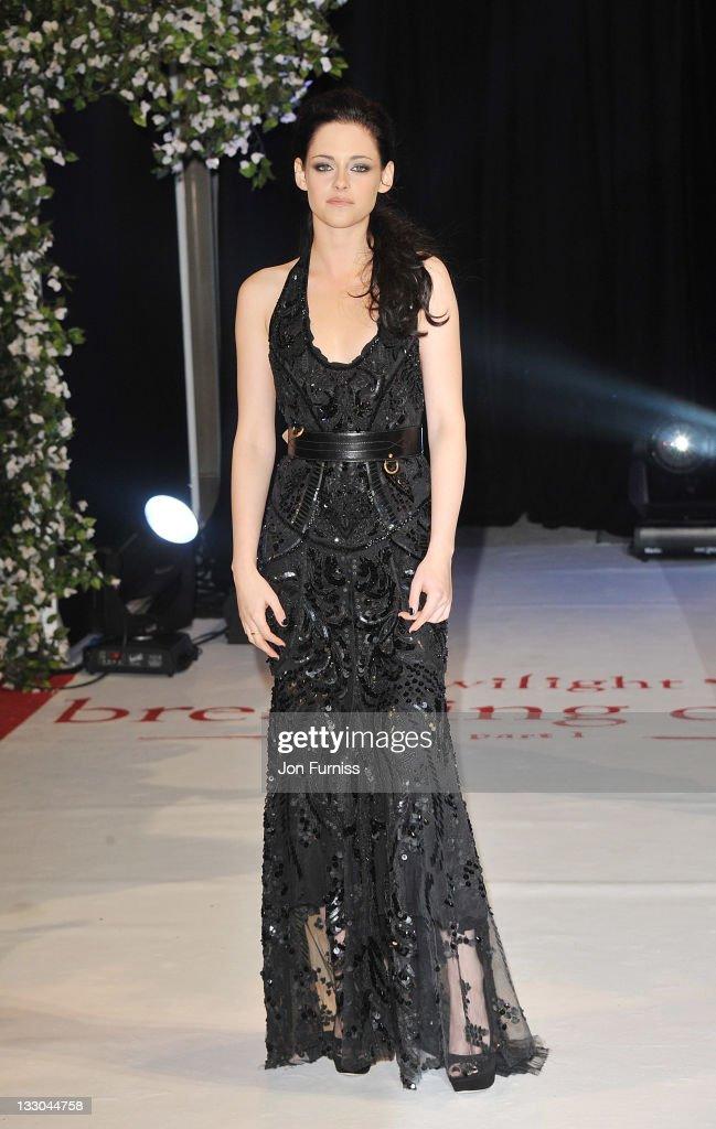 Actress Kristen Stewart attends 'The Twilight Saga: Breaking Dawn Part 1' UK Premiere, at Westfield Stratford City on November 16, 2011 in London, England.