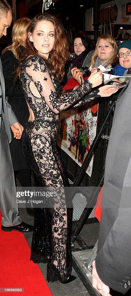 Actress Kristen Stewart attends the UK Premiere of 'The Twilight Saga: Breaking Dawn - Part 2' at Odeon Leicester Square on November 14, 2012 in London, England.