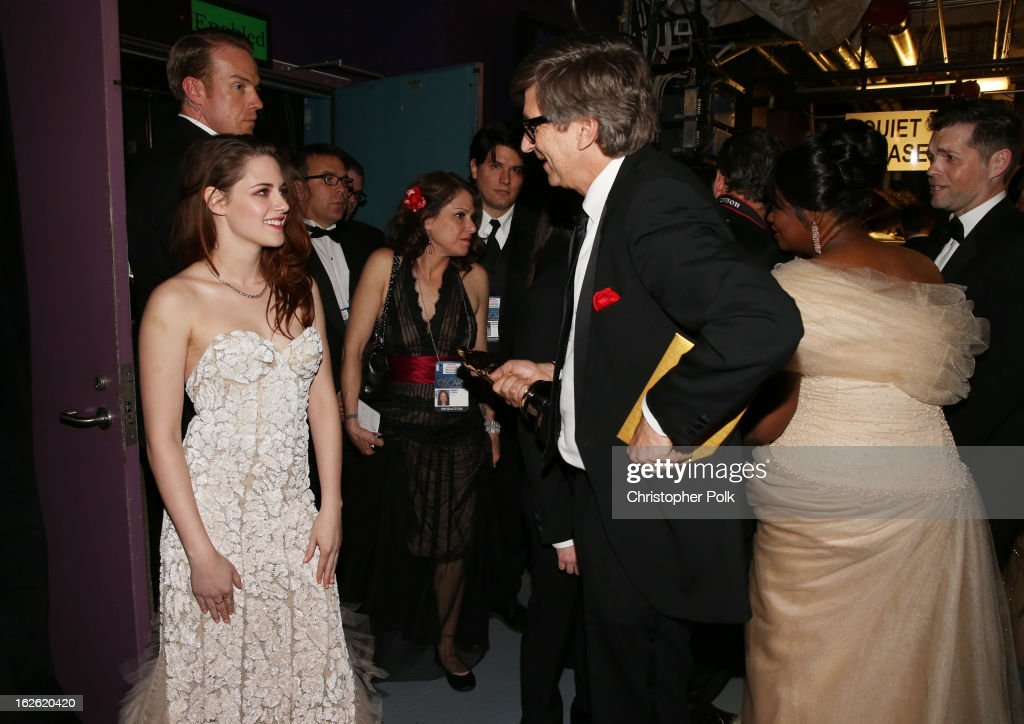 Actress <a gi-track='captionPersonalityLinkClicked' href=/galleries/search?phrase=Kristen+Stewart&family=editorial&specificpeople=2166264 ng-click='$event.stopPropagation()'>Kristen Stewart</a>, Backstage Host Peter Castro, and actress <a gi-track='captionPersonalityLinkClicked' href=/galleries/search?phrase=Octavia+Spencer&family=editorial&specificpeople=2538115 ng-click='$event.stopPropagation()'>Octavia Spencer</a> seen from backstage during the Oscars held at the Dolby Theatre on February 24, 2013 in Hollywood, California.