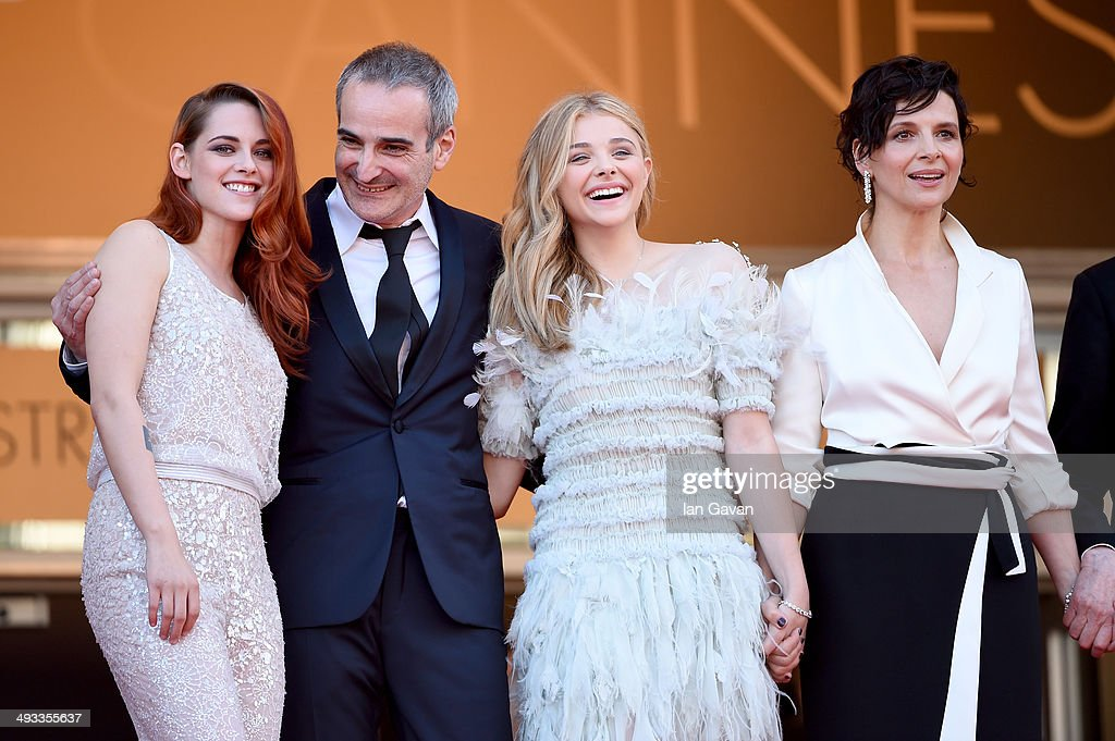 Actress Kristen Stewart, director Olivier Assayas, actress Chloe Grace Moretz and actress Juliette Binoche attend the 'Clouds Of Sils Maria' premiere during the 67th Annual Cannes Film Festival on May 23, 2014 in Cannes, France.
