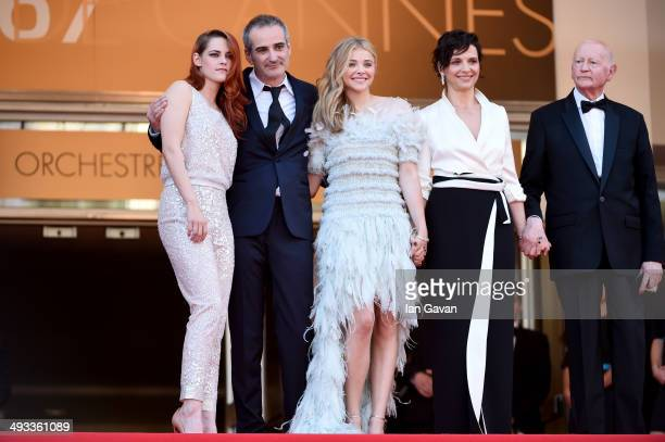 Actress Kristen Stewart director Olivier Assayas actress Chloe Grace Moretz Juliette Binoche and Gilles Jacob attend the 'Clouds Of Sils Maria'...