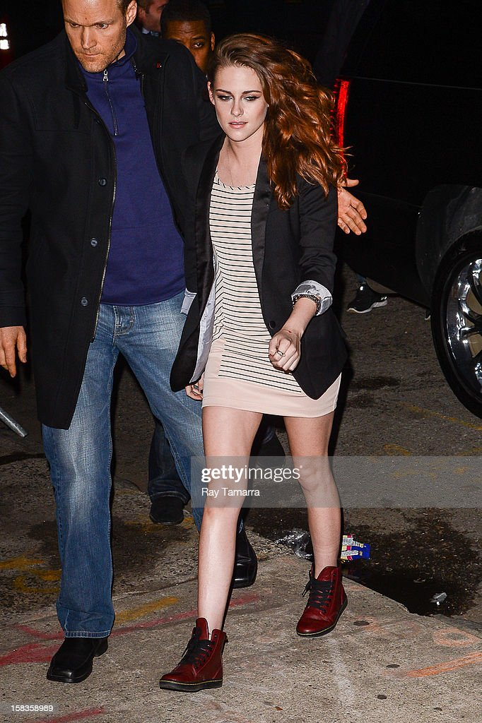 Actress Kristen Stewart enters the 'Daily Show With Jon Stewart' at the NEP Studio 52 on December 13 2012 in New York City