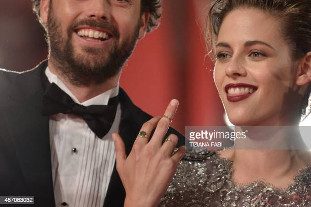 US actress Kristen Stewart gestures as she arrives for the screening of the movie 'Equals' presented in competition at the 72nd Venice International...