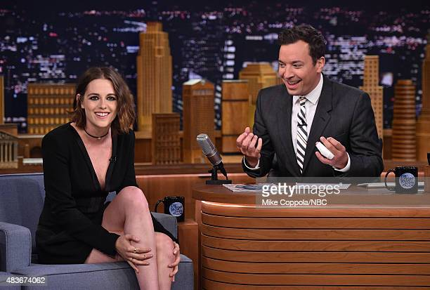 Actress Kristen Stewart is interviewed by Jimmy Fallon on 'The Tonight Show Starring Jimmy Fallon' at Rockefeller Center on August 11 2015 in New...
