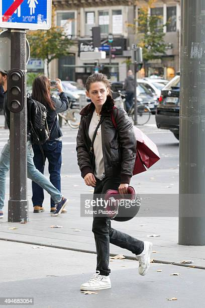 Actress Kristen Stewart is seen on the set of 'Personal Shopper' on October 28 2015 in Paris France