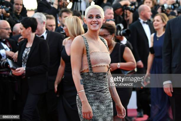 US actress Kristen Stewart poses as she arrives on May 20 2017 for the screening of the film '120 Beats Per Minute ' at the 70th edition of the...