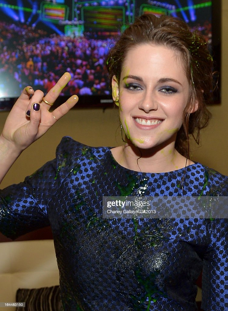 Actress Kristen Stewart seen backstage at Nickelodeon's 26th Annual Kids' Choice Awards at USC Galen Center on March 23, 2013 in Los Angeles, California.