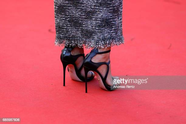 Actress Kristen Stewart shoe detail attends the '120 Beats Per Minute ' screening during the 70th annual Cannes Film Festival at Palais des Festivals...