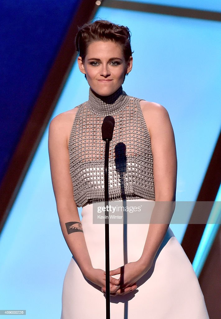 Actress <a gi-track='captionPersonalityLinkClicked' href=/galleries/search?phrase=Kristen+Stewart&family=editorial&specificpeople=2166264 ng-click='$event.stopPropagation()'>Kristen Stewart</a> speaks onstage during the 18th Annual Hollywood Film Awards at The Palladium on November 14, 2014 in Hollywood, California.