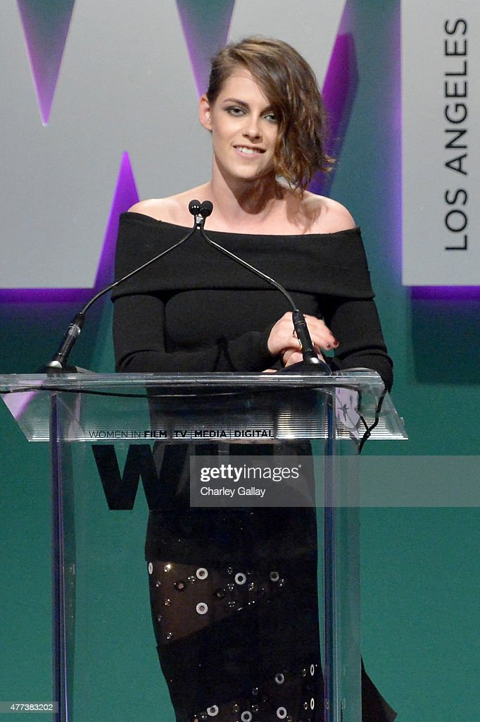 Actress <a gi-track='captionPersonalityLinkClicked' href=/galleries/search?phrase=Kristen+Stewart&family=editorial&specificpeople=2166264 ng-click='$event.stopPropagation()'>Kristen Stewart</a> speaks onstage during the Women In Film 2015 Crystal + Lucy Awards Presented by Max Mara, BMW of North America, and Tiffany & Co. at the Hyatt Regency Century Plaza on June 16, 2015 in Century City, California.