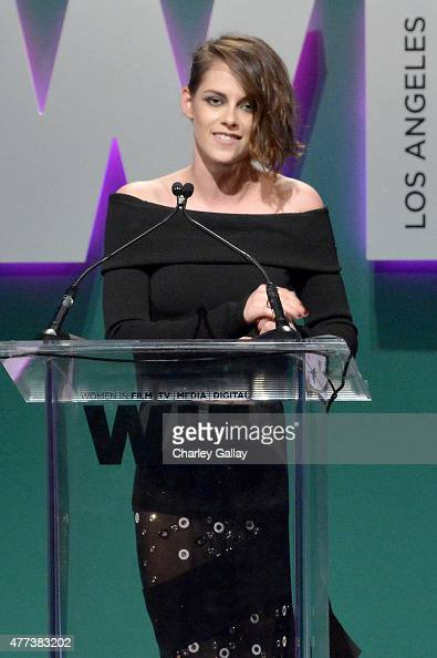 Actress Kristen Stewart speaks onstage during the Women In Film 2015 Crystal Lucy Awards Presented by Max Mara BMW of North America and Tiffany Co at...